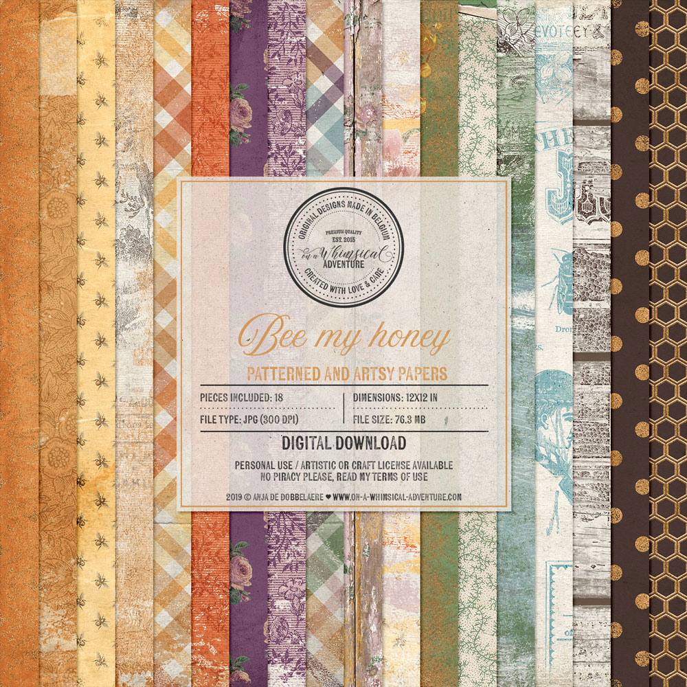 Bee My Honey Patterned Papers by On A Whimsical Adventure