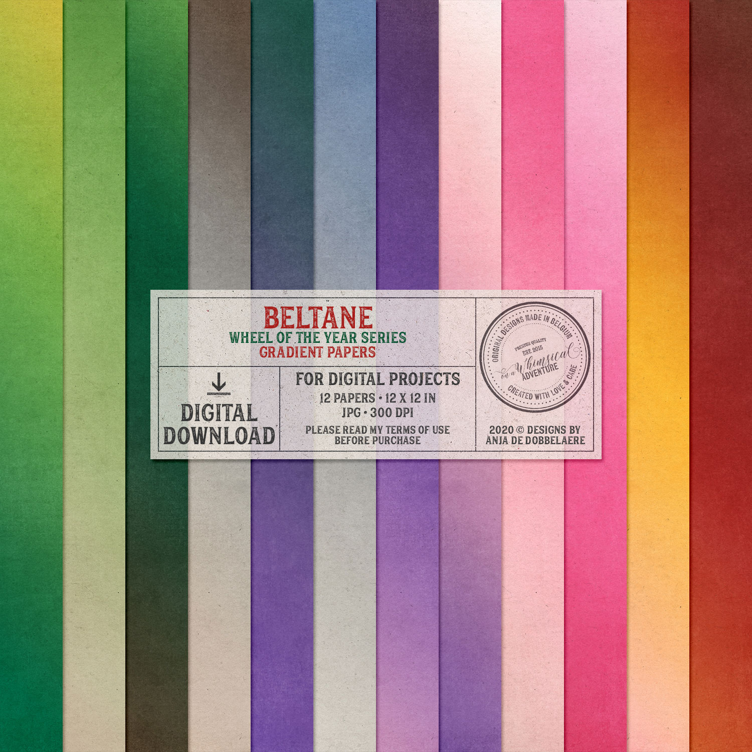 Wheel Of The Year Beltane Gradient Papers by On A Whimsical Adventure