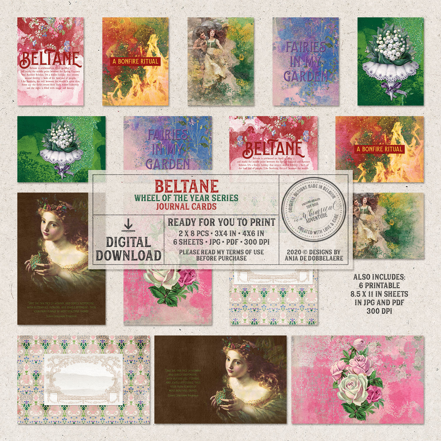 Wheel Of The Year Beltane Journal Cards by On A Whimsical Adventure