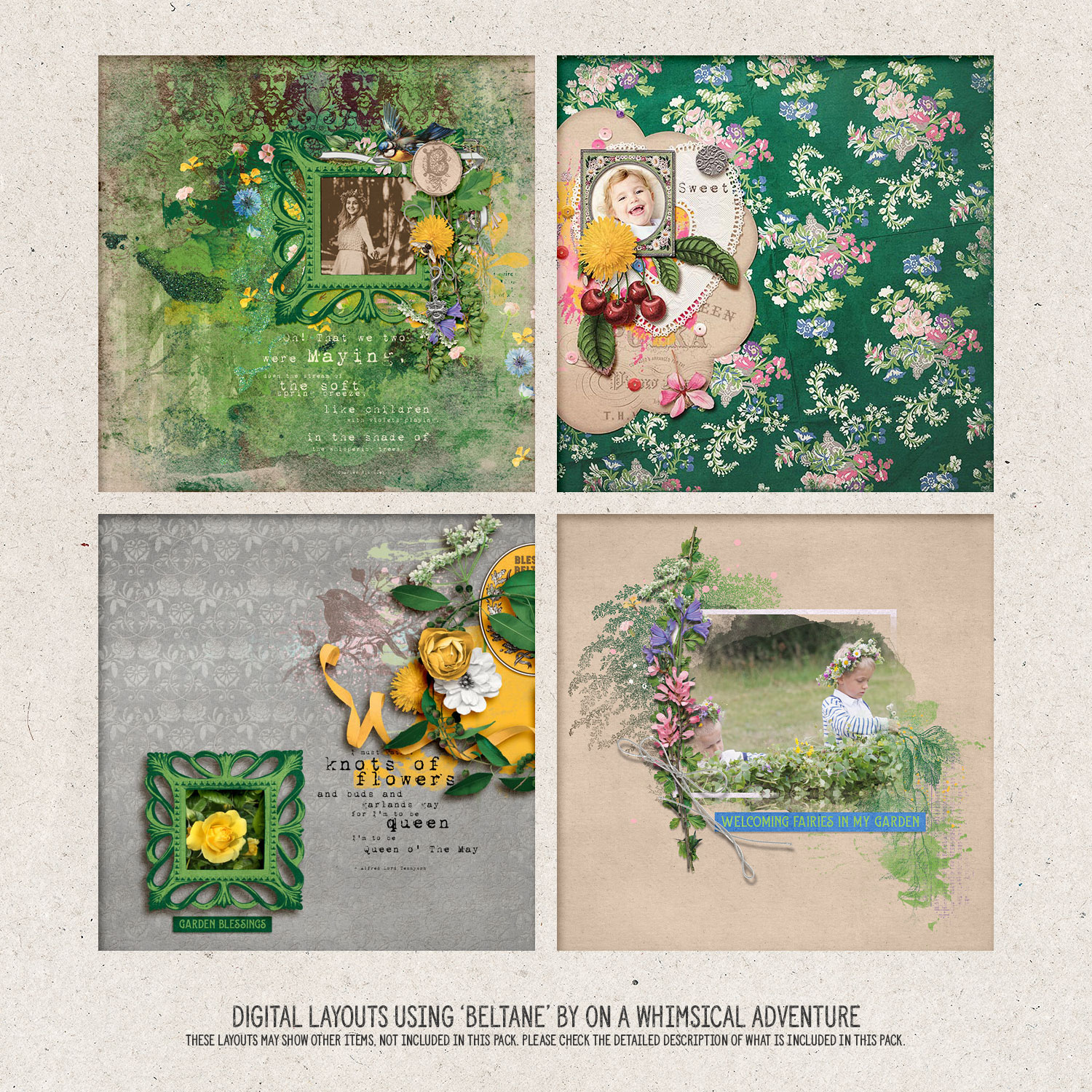 Digital layouts using Wheel Of The Year Beltane Bundle by On A Whimsical Adventure