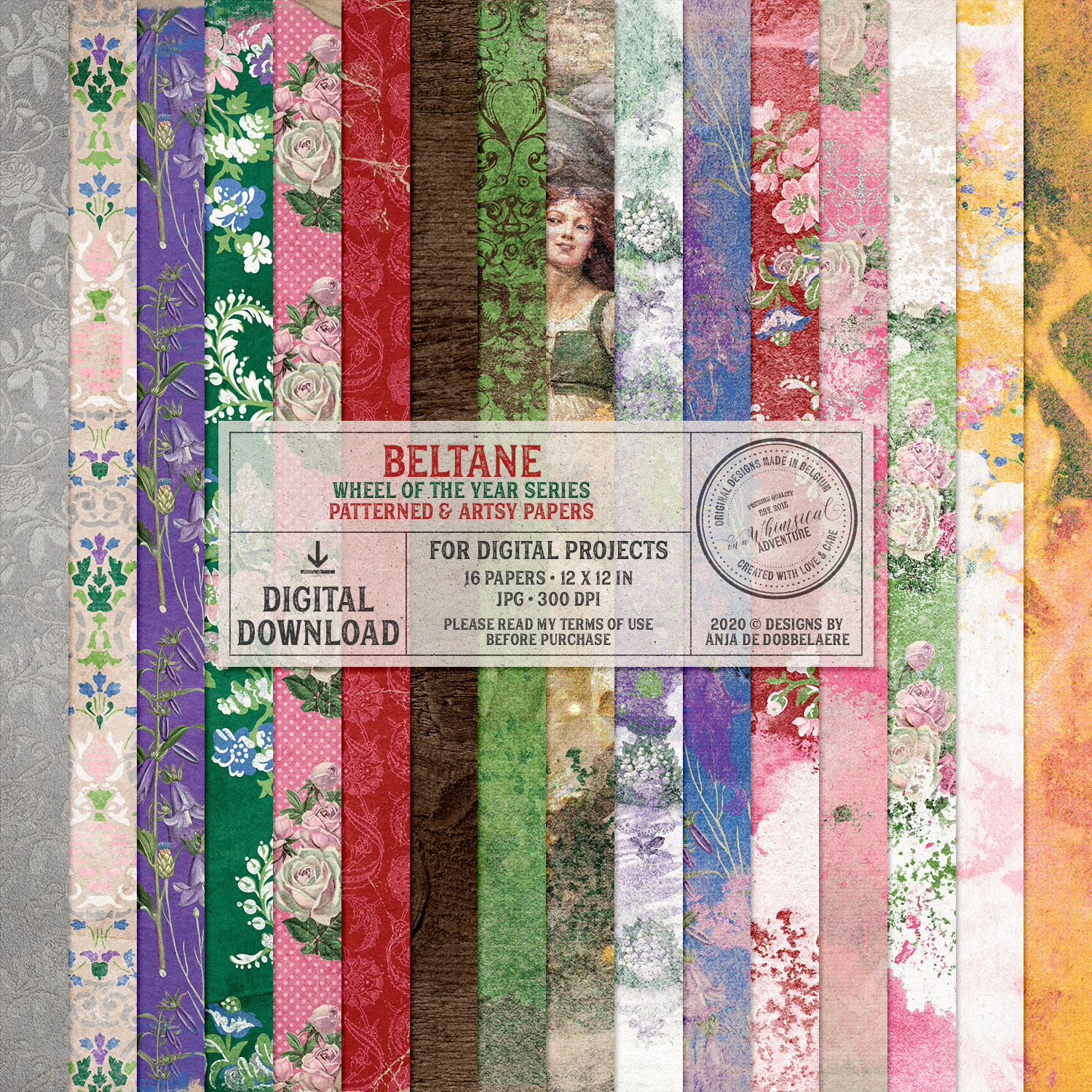Wheel Of The Year Beltane Patterned And Artsy Papers by On A Whimsical Adventure