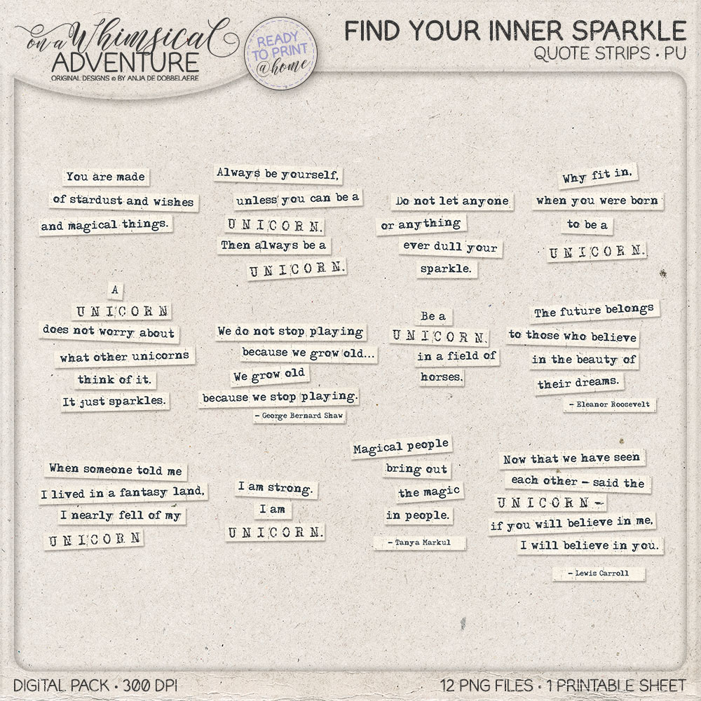 Find Your Inner Sparkle Quote Strips by On A Whimsical Adventure