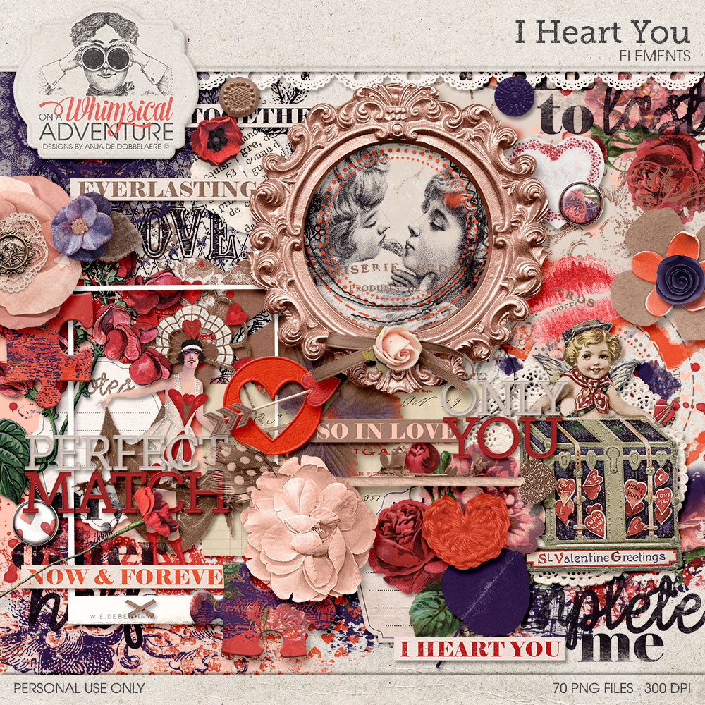 Oscraps Com Digital Scrapbook Store Scrapbooking Art All New I Heart You