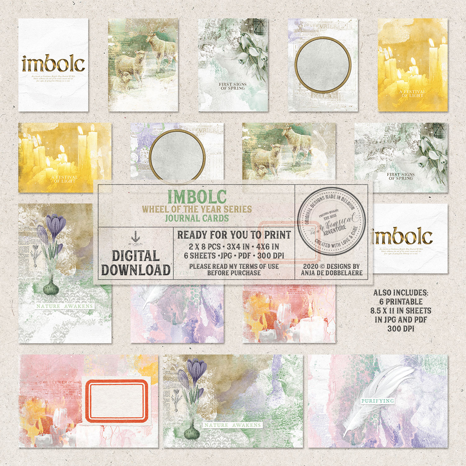 Wheel Of The Year Imbolc Journal Cards by On A Whimsical Adventure