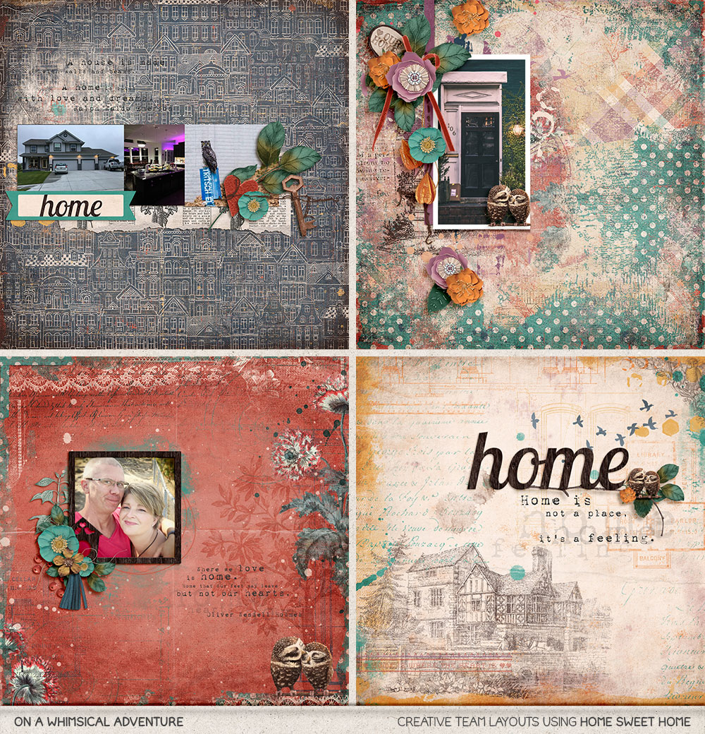 Digital layouts using Home Sweet Home by On A Whimsical Adventure