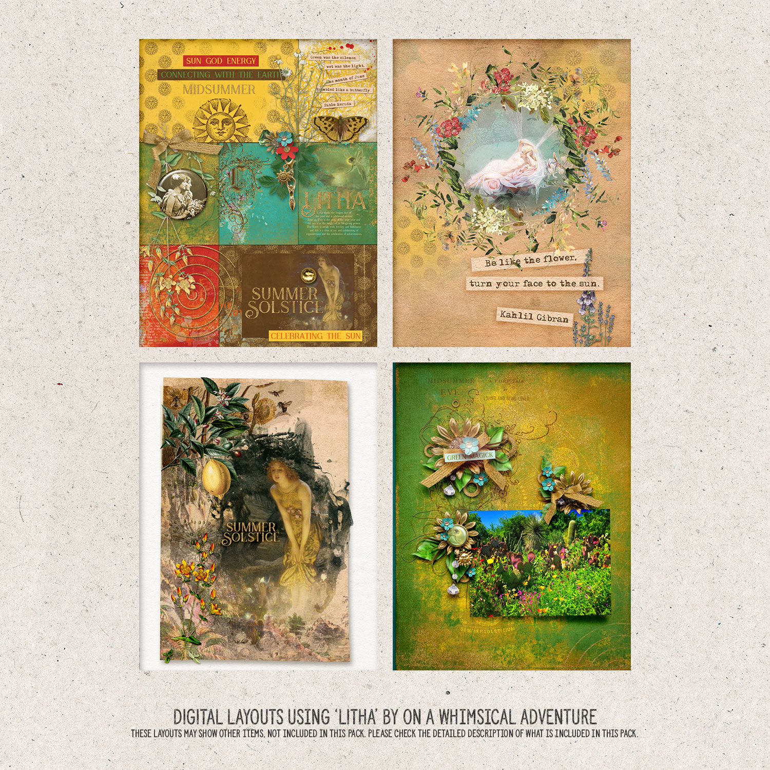 Digital layouts using Wheel Of The Year Litha by On A Whimsical Adventure