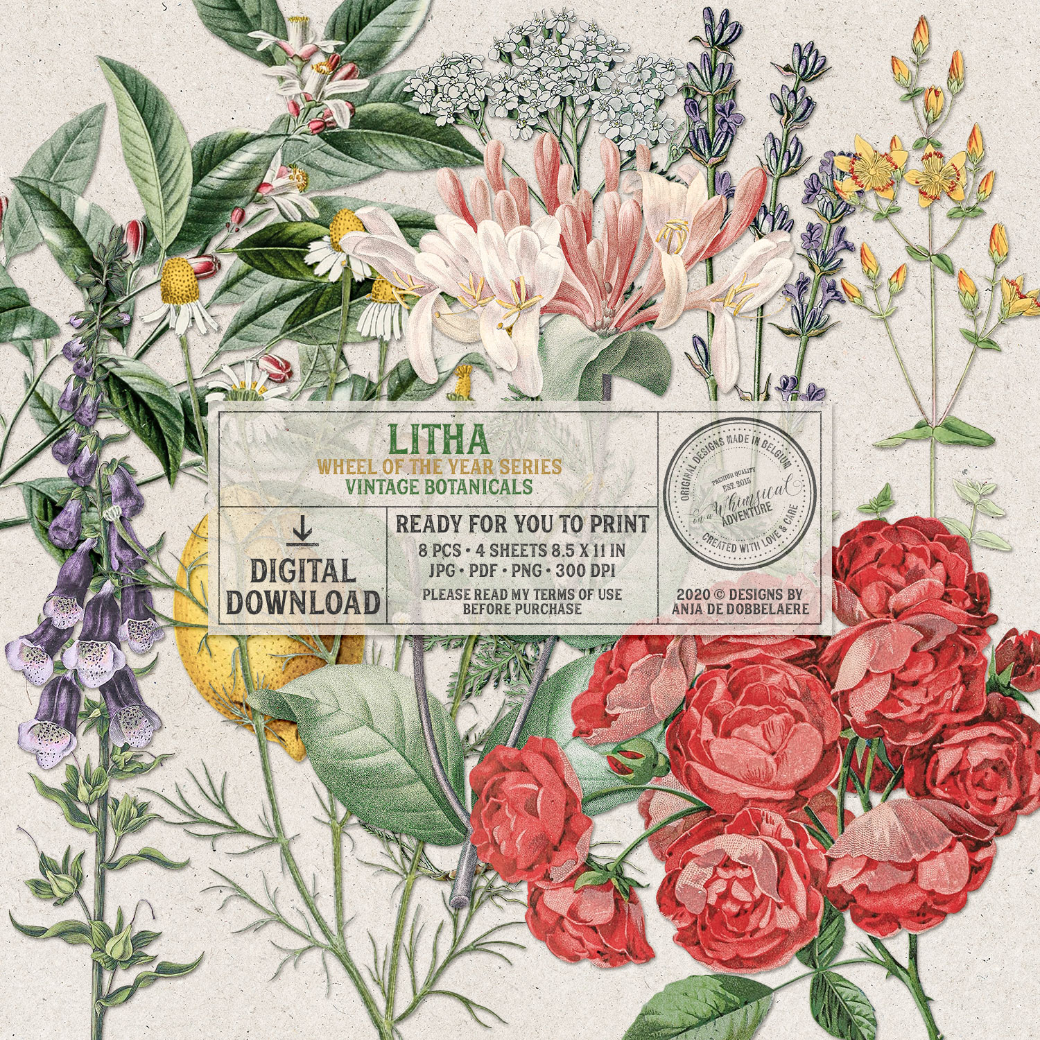 Wheel Of The Year Litha Vintage Botanicals by On A Whimsical Adventure
