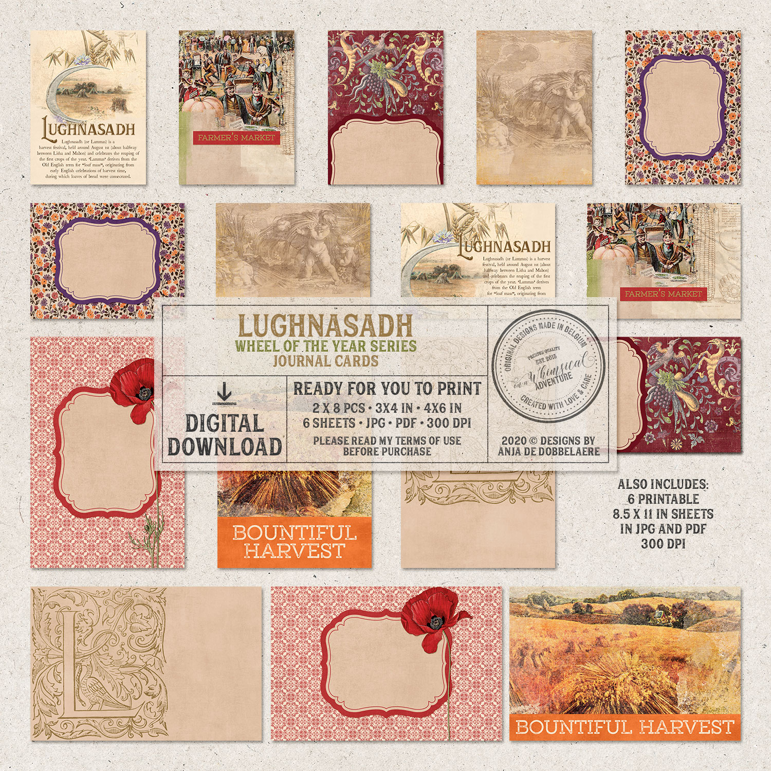 Wheel Of The Year Lughnasadh Journal Cards by On A Whimsical Adventure