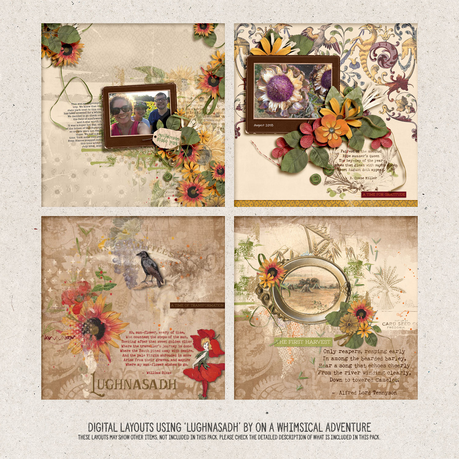 Digital layouts using Wheel Of The Year Lughnasadh Bundle by On A Whimsical Adventure