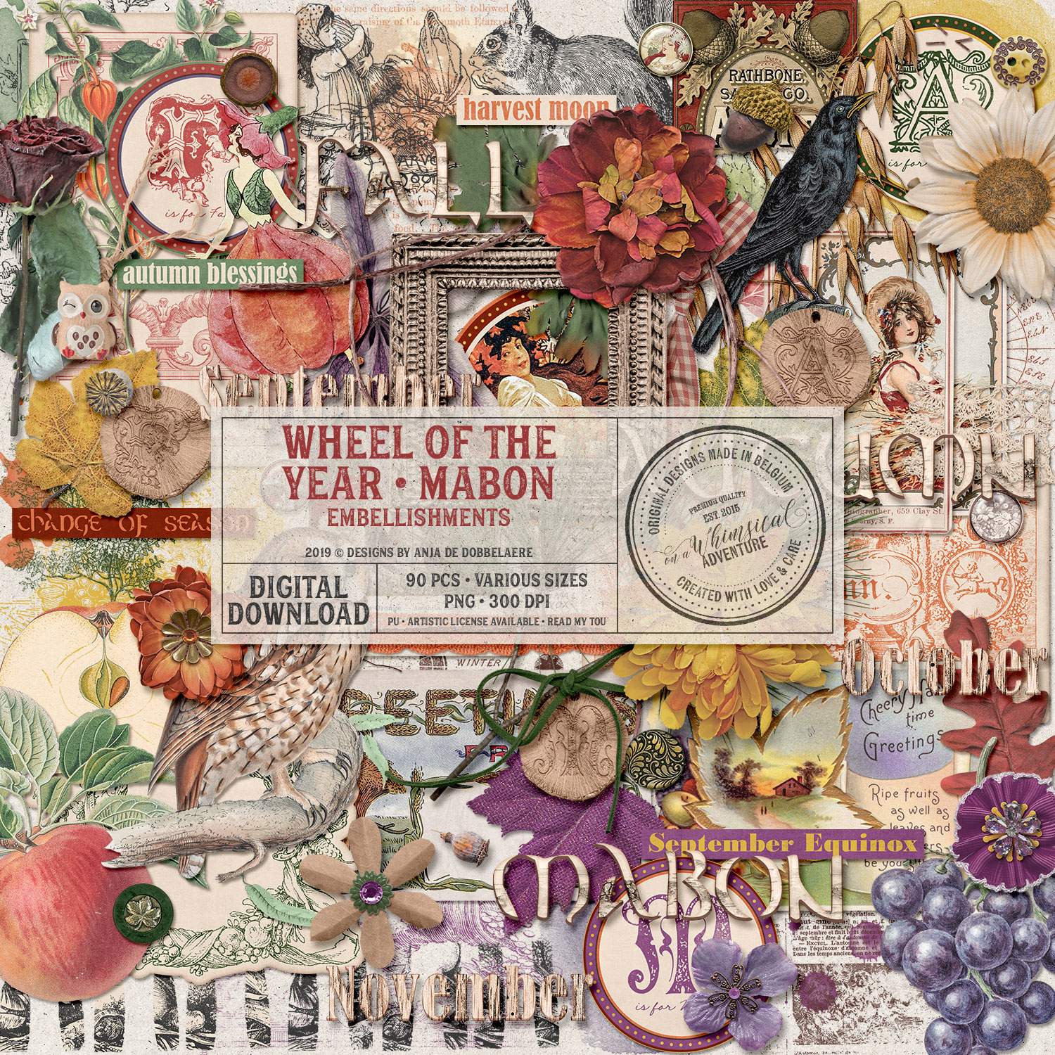 Wheel Of The Year Mabon Embellishments by On A Whimsical Adventure