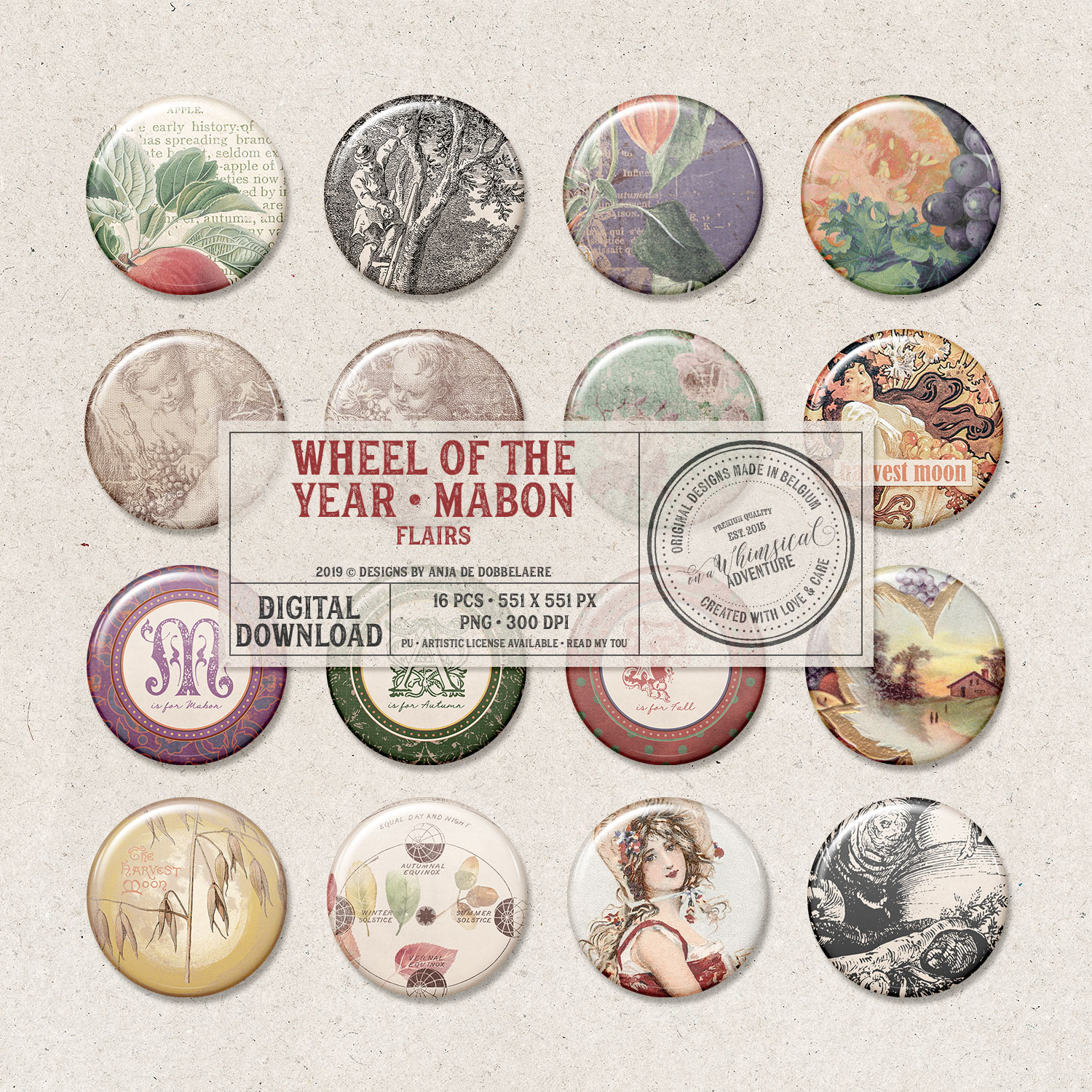 Wheel Of The Year Mabon Flairs by On A Whimsical Adventure