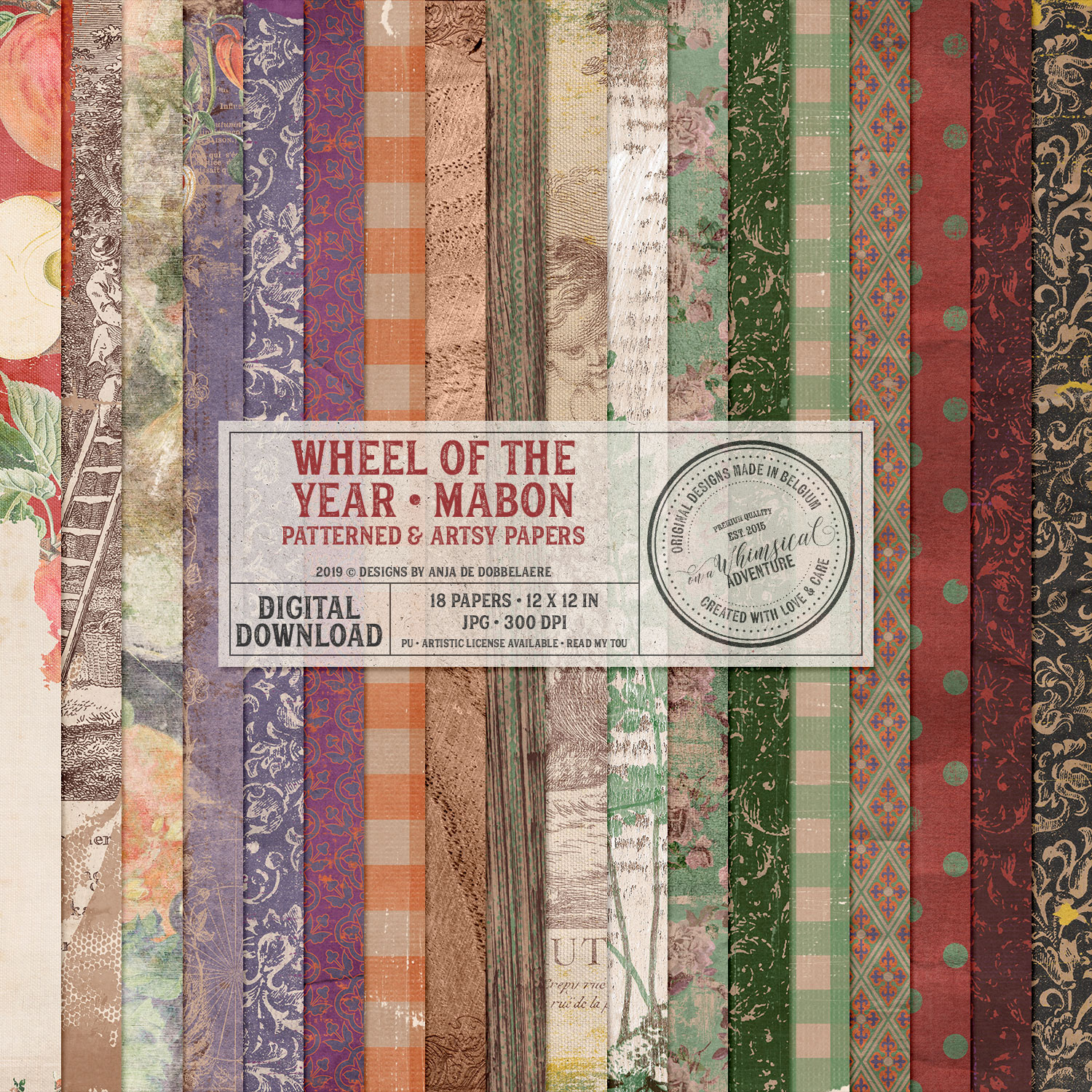 Wheel Of The Year Mabon Patterned and Artsy Papers by On A Whimsical Adventure