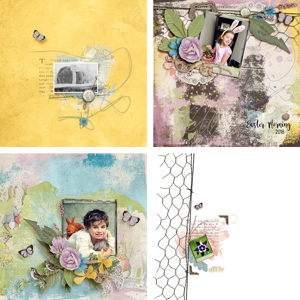 Digital layouts using Mr McGregor's Garden Kit by On A Whimsical Adventure