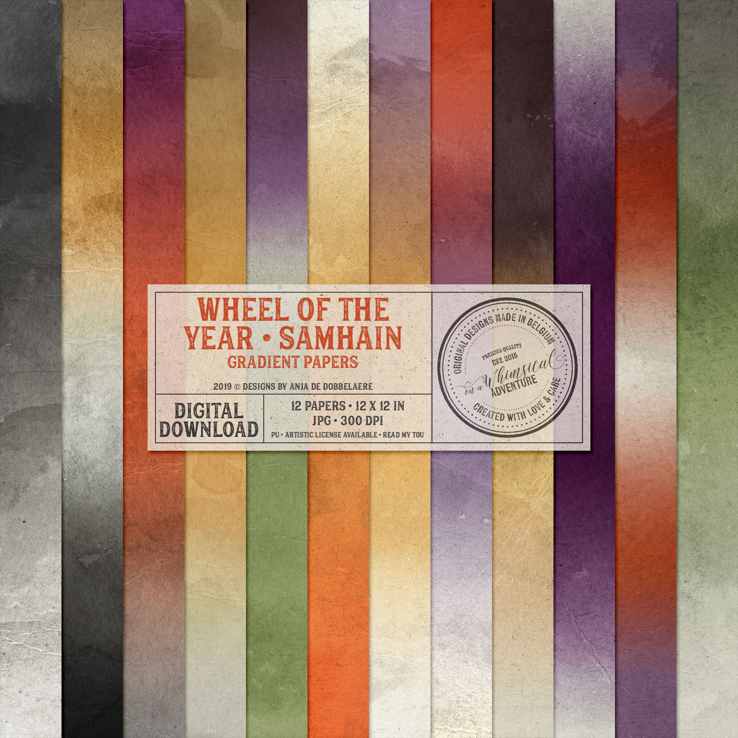 Wheel Of The Year Samhain Gradient Papers by On A Whimsical Adventure