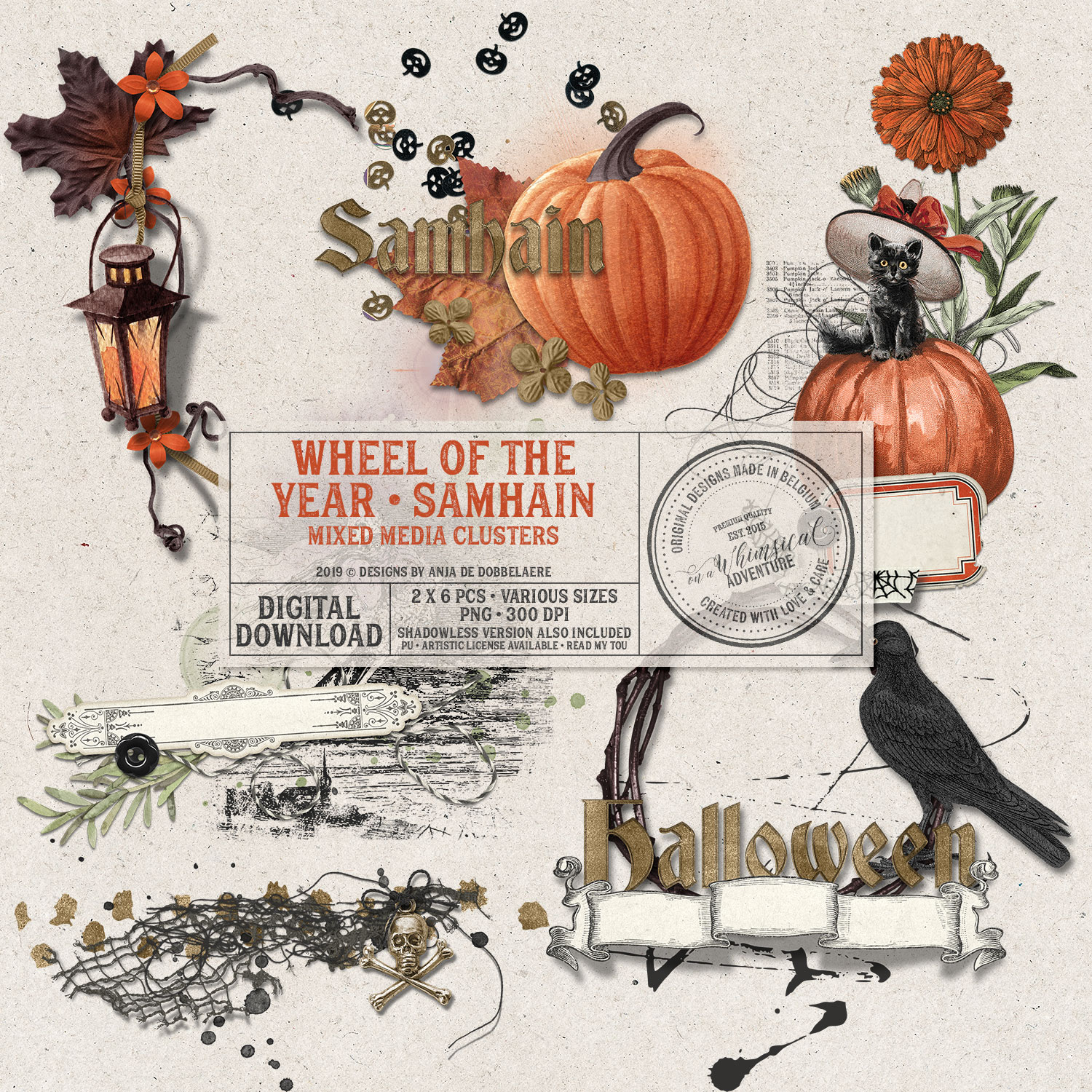 Wheel Of The Year Samhain Mixed Media Clusters by On A Whimsical Adventure