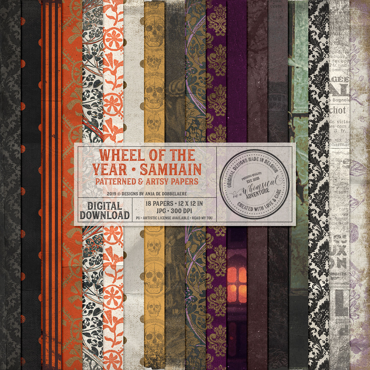 Wheel Of The Year Samhain Patterned and Artsy Papers by On A Whimsical Adventure