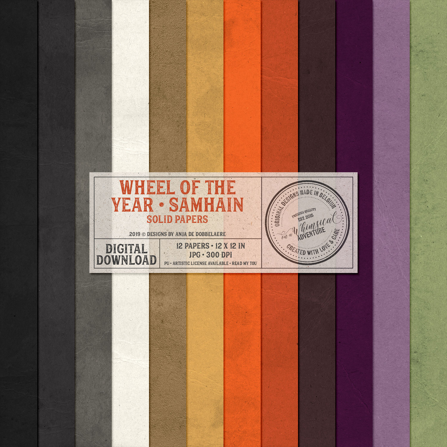 Wheel Of The Year Samhain Solid Papers by On A Whimsical Adventure