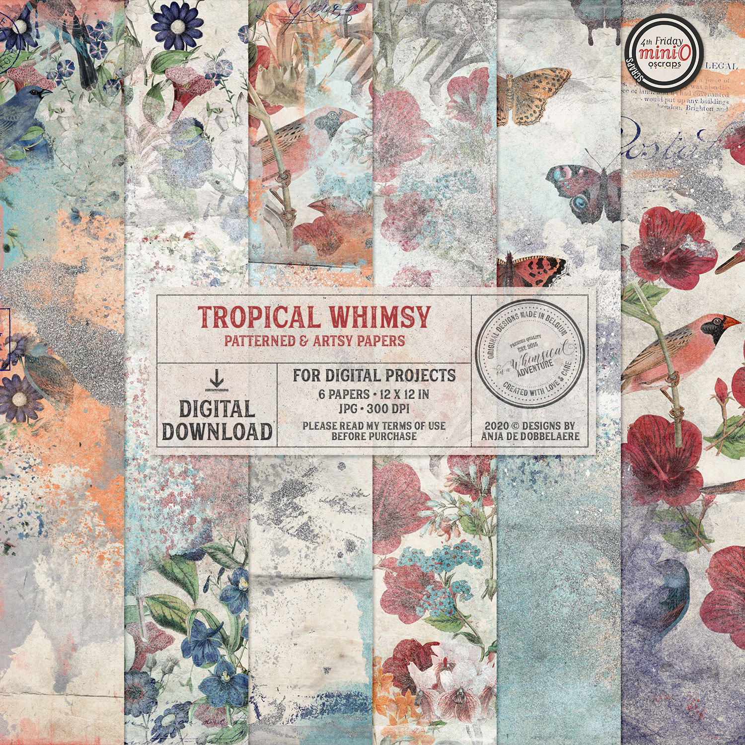 Tropical Whimsy Patterned And Artsy Papers by On A Whimsical Adventure