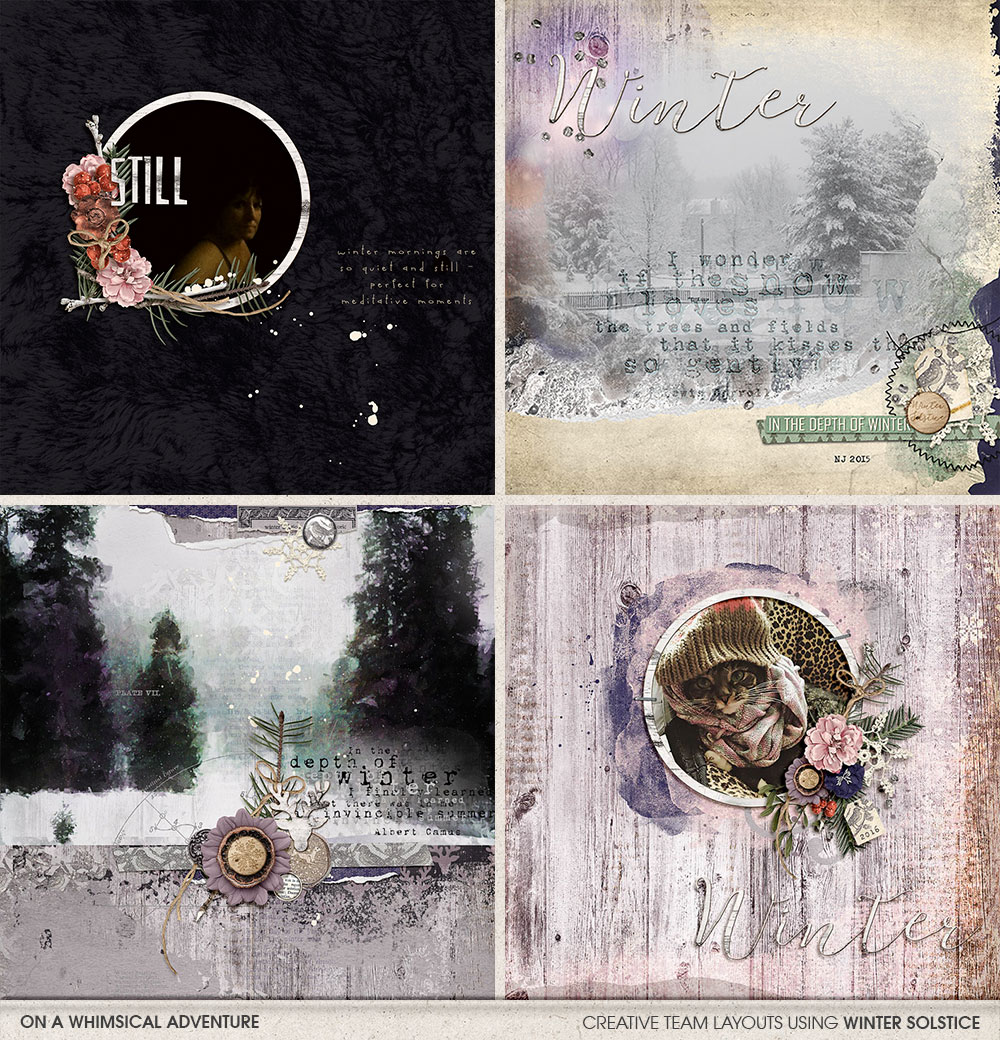Digital layouts using Winter Solstice by On A Whimsical Adventure