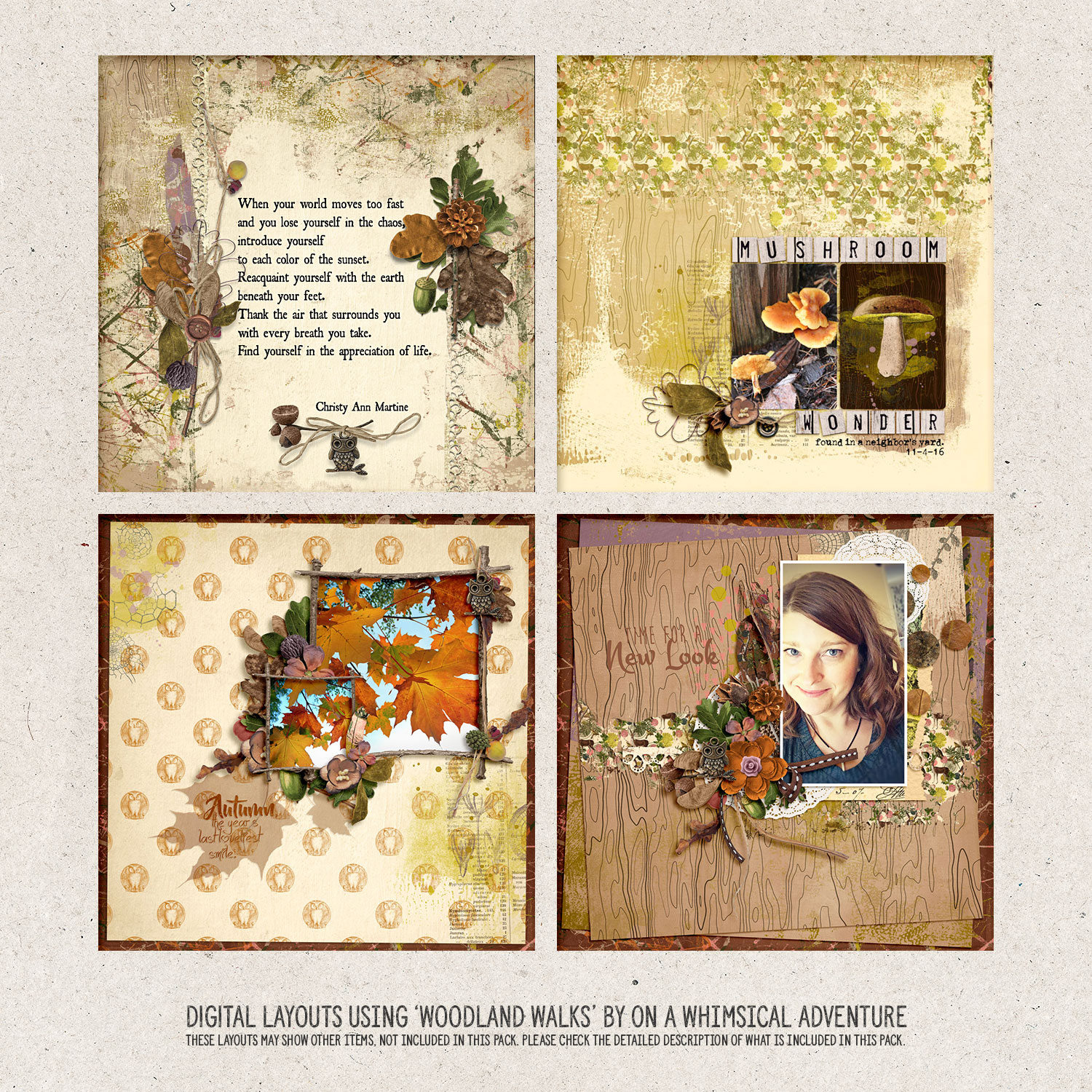 digital layouts using 'Woodland Walks' by On A Whimsical Adventure