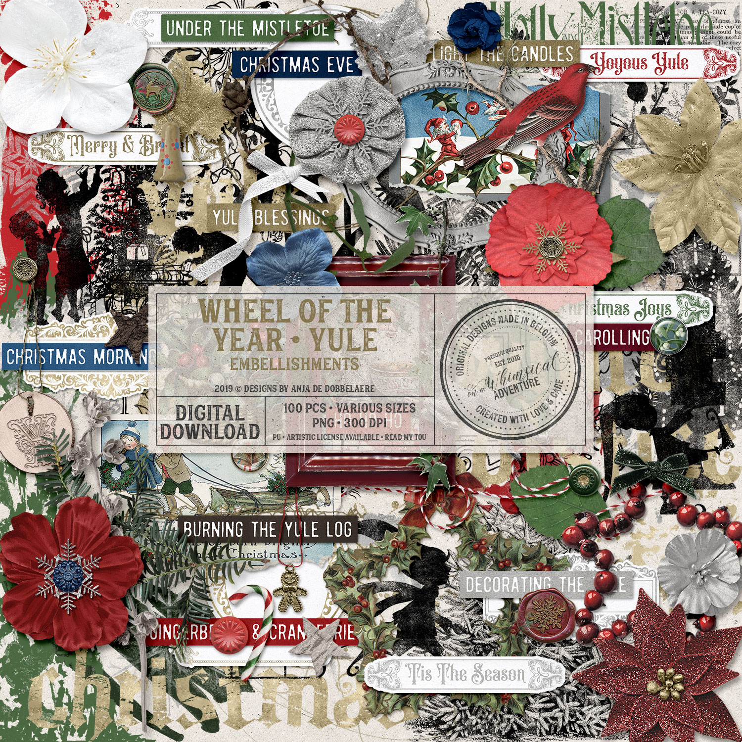 Wheel Of The Year / Yule Embellishments by On A Whimsical Adventure