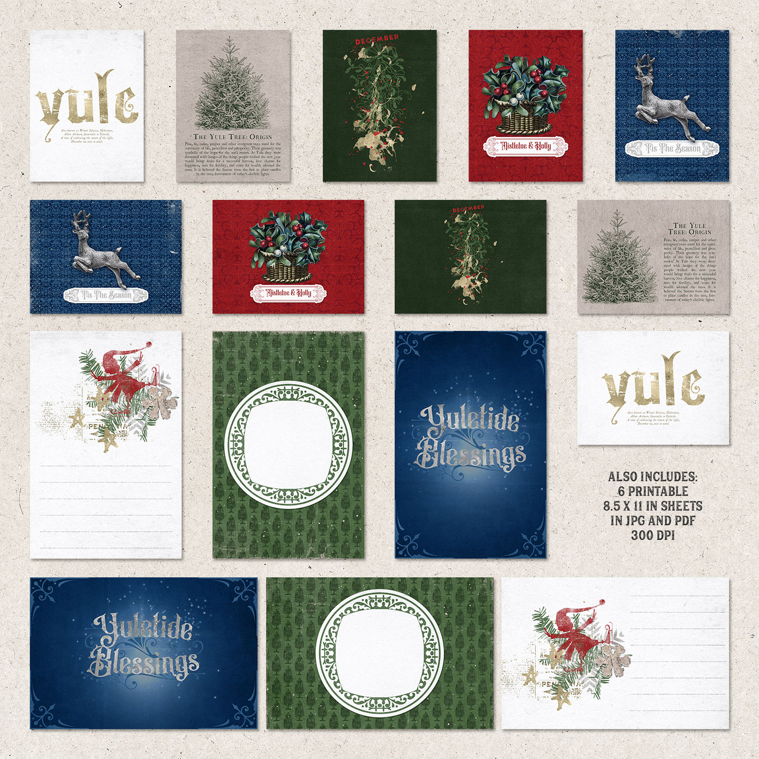 Wheel Of The Year / Yule Journal Cards by On A Whimsical Adventure