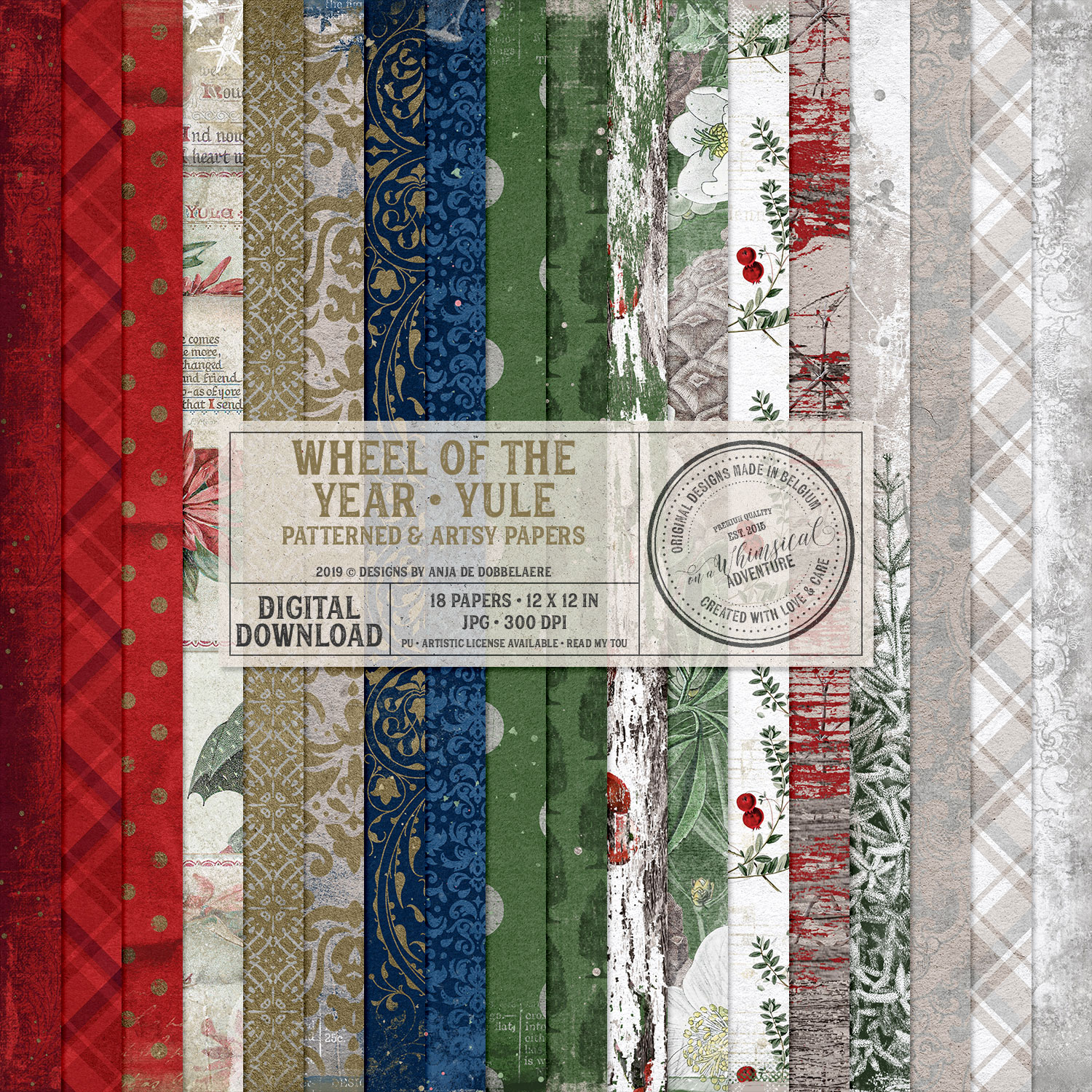 Wheel Of The Year / Yule Patterned And Artsy Papers by On A Whimsical Adventure