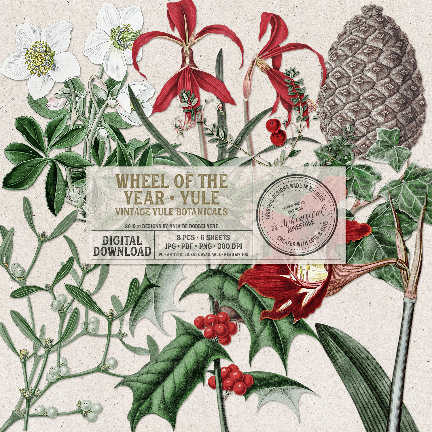 Wheel Of The Year / Yule Vintage Botanicals by On A Whimsical Adventure