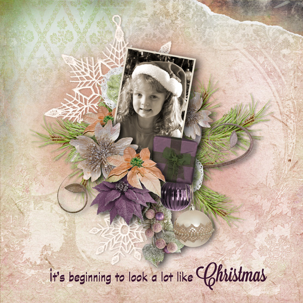 Snickerdoodle Designs Kit, Deck the Halls ,Layout by Robyn