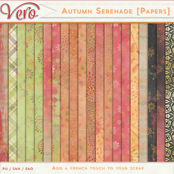 Autumn Serenade Page Kit Papers by Vero