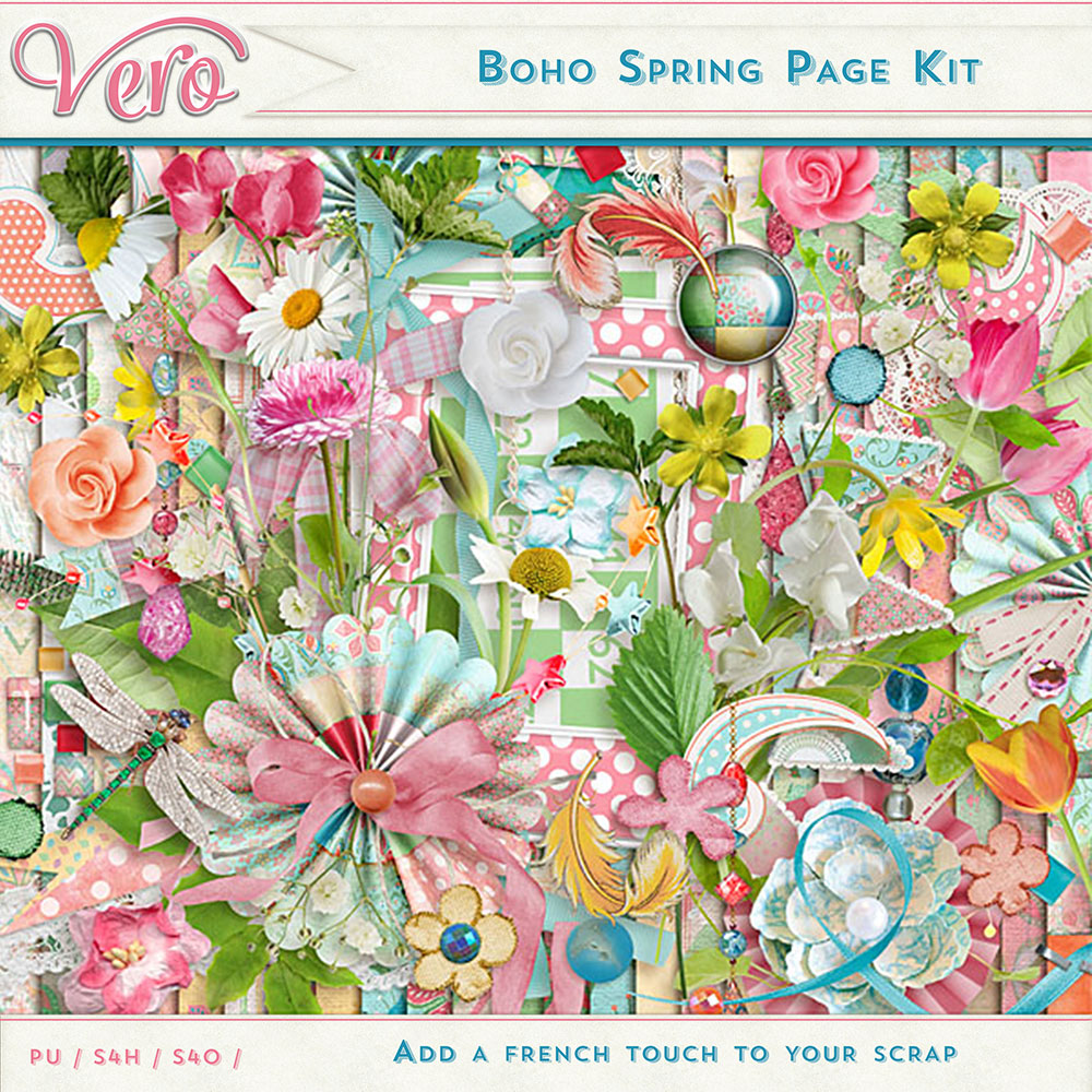 Boho Spring Page Kit Elements by Vero