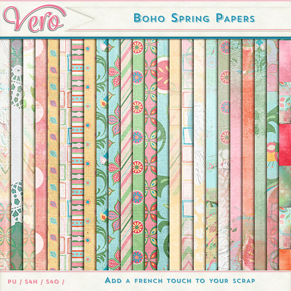 Boho Spring Page Kit Papers by Vero