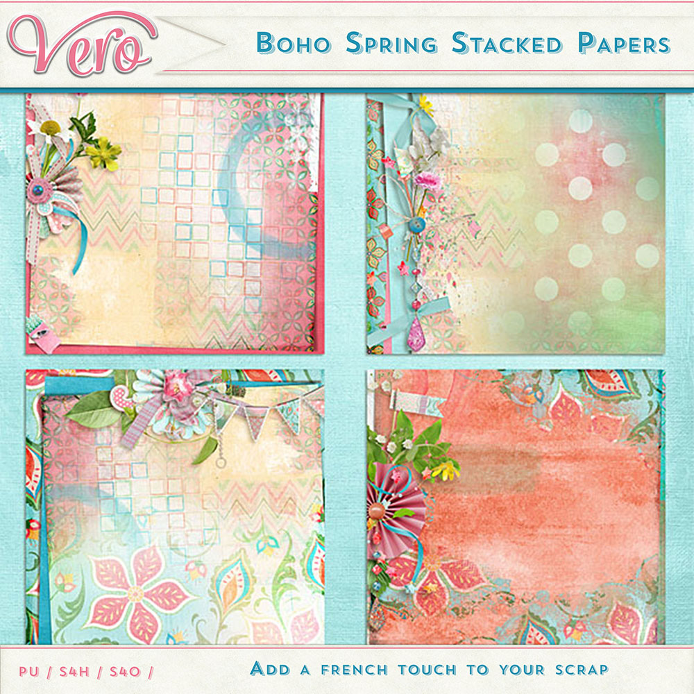 Boho Spring Stacked Papers by Vero