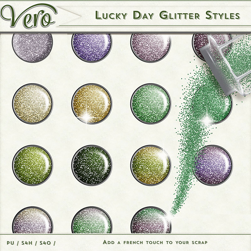 Lucky Day Digital Scrapbook Glitter Styles by Vero