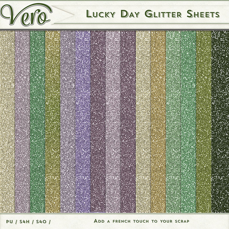 Lucky Day Digital Scrapbook Glitter Sheet Papers by Vero