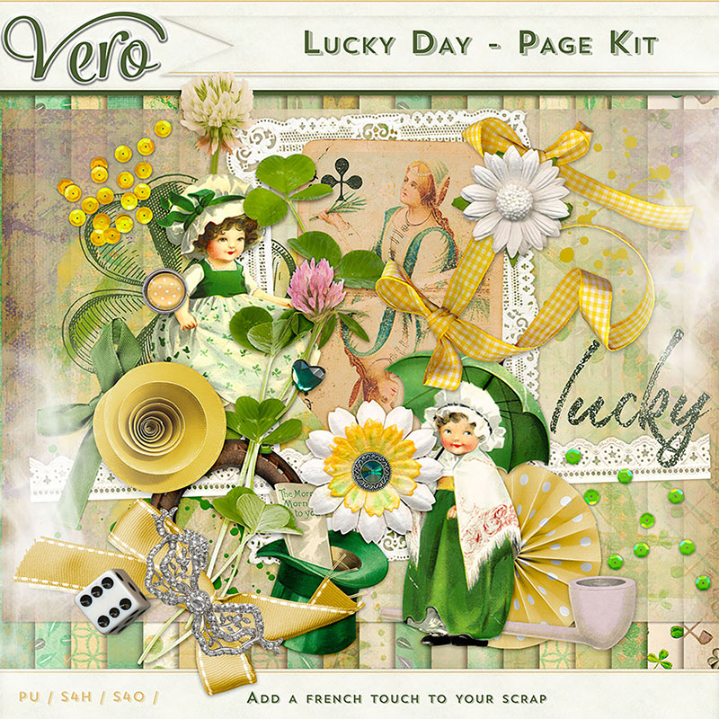 Lucky Day Digital Scrapbook Page Kit by Vero