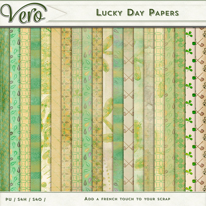 Lucky Day Digital Scrapbook Patterned Papers by Vero