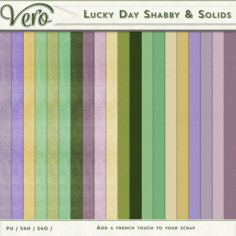Lucky Day Digital Scrapbook Solid & Shabby Papers by Vero
