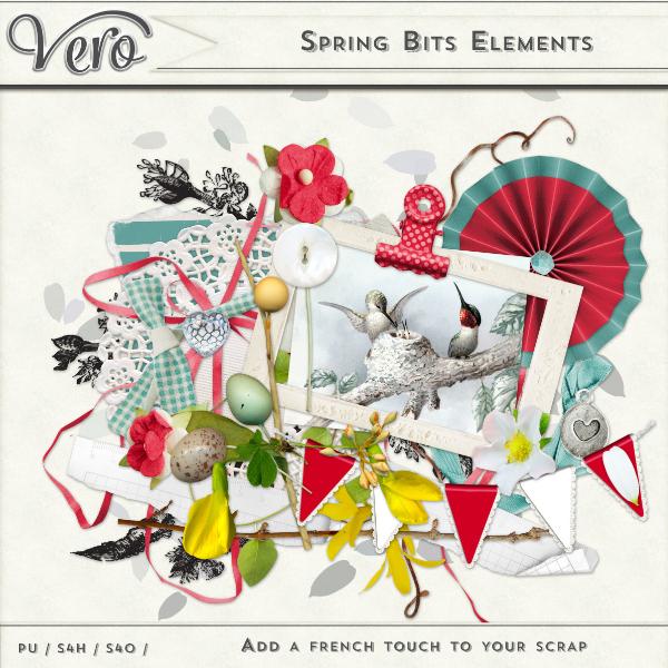 Spring Bits Digital Scrapbook Page Kit Elements