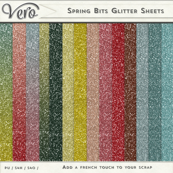Spring Bits Digital Scrapbook Glitter Papers