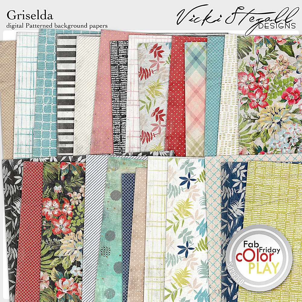 Griselda Digital Scrapbooking Patterned Background Papers by Vicki Stegall @ Oscraps.com