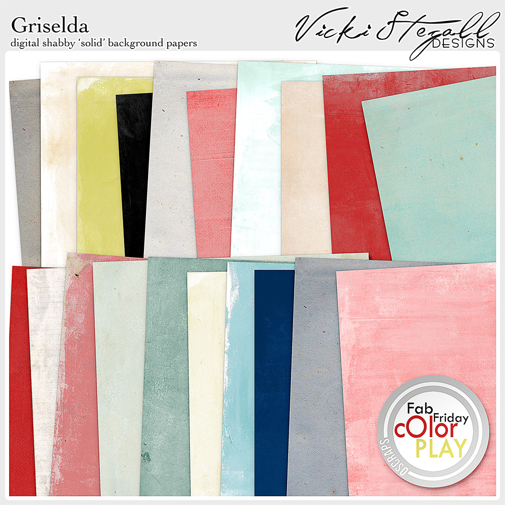 Griselda Digital Scrapbooking Shabby Solid Background Papers by Vicki Stegall @ Oscraps.com