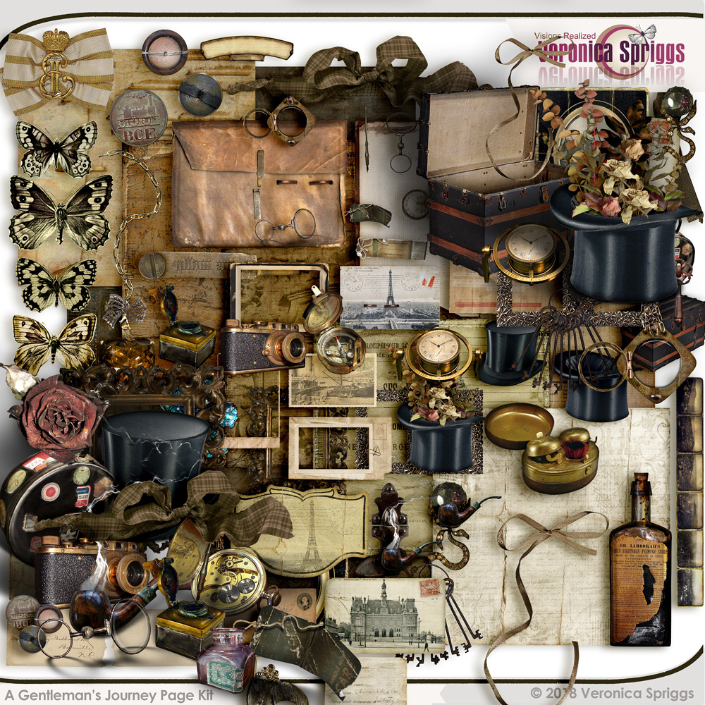 A Gentleman's Journey Digital Art Page Kit by Veronica Spriggs