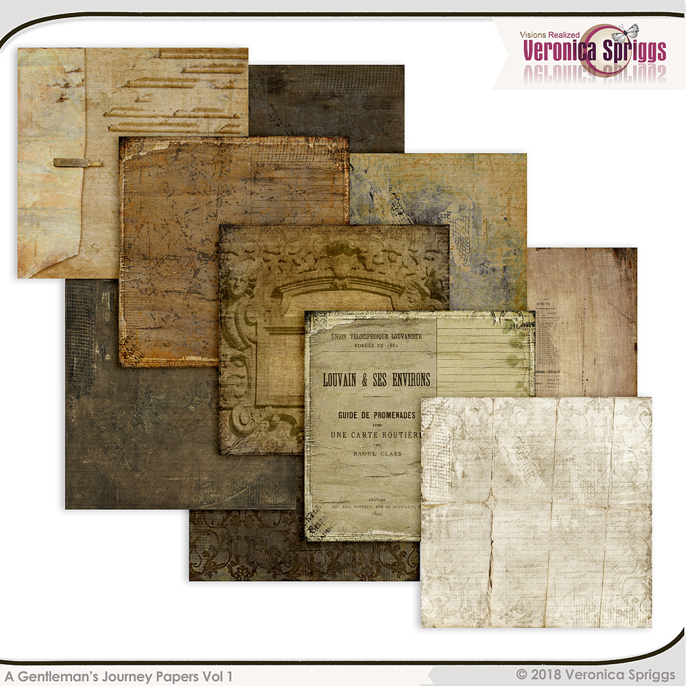 A Gentleman's Journey Digital Art Papers Pack 01 by Veronica Spriggs