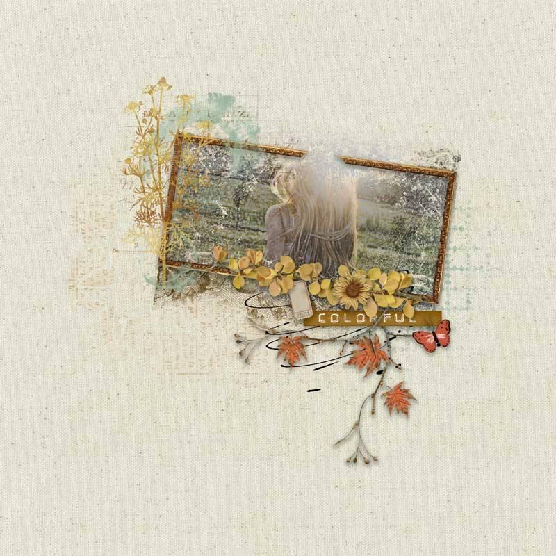 Autumn Breeze Digital Scrapbook Bundle by Vicki Robinson Layout 05