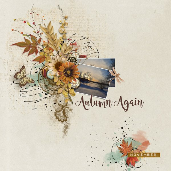 Autumn Breeze Digital Scrapbook Bundle by Vicki Robinson Layout 04