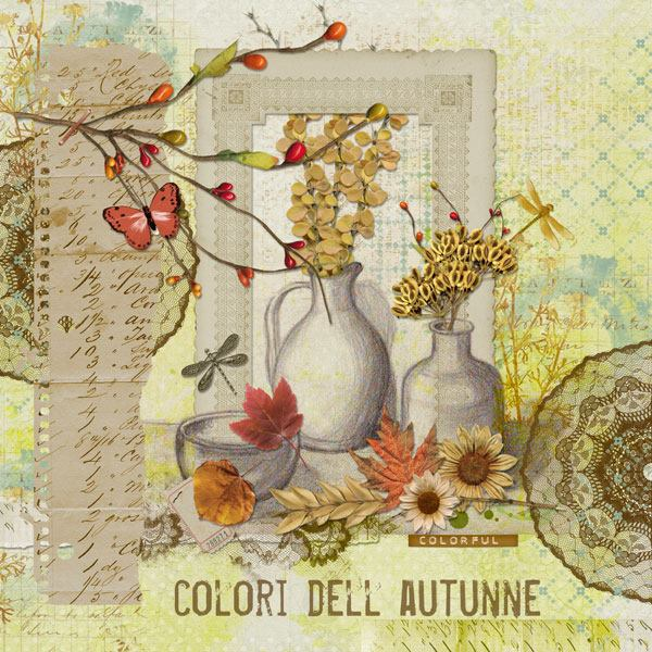Autumn Breeze Digital Scrapbook Bundle by Vicki Robinson Layout 03