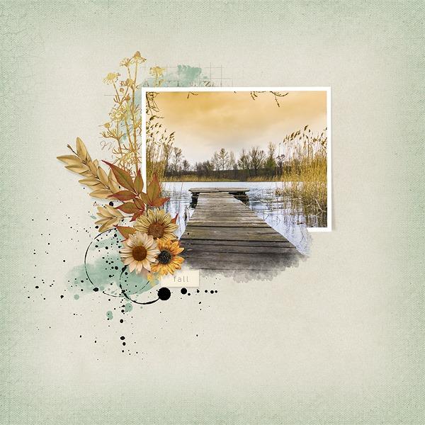 Autumn Breeze Digital Scrapbook Bundle by Vicki Robinson Layout 07