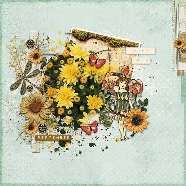 Autumn Breeze Digital Scrapbook Bundle by Vicki Robinson Layout 06