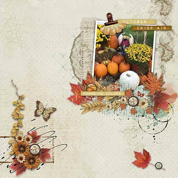 Autumn Breeze Digital Scrapbook Bundle by Vicki Robinson Layout 09